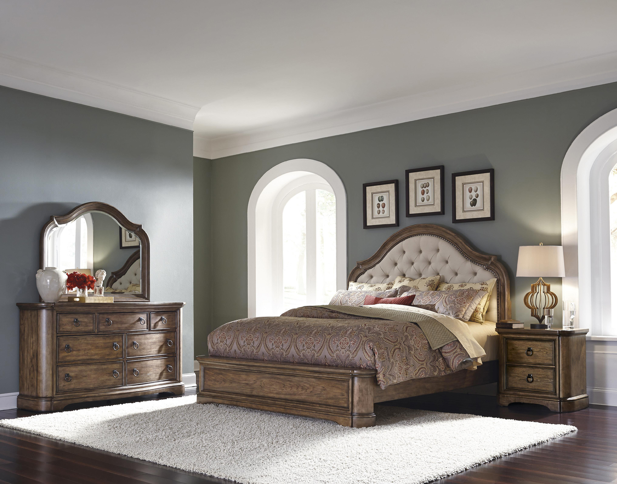 Aurora king tufted upholstered bedroom set with linen fabric by