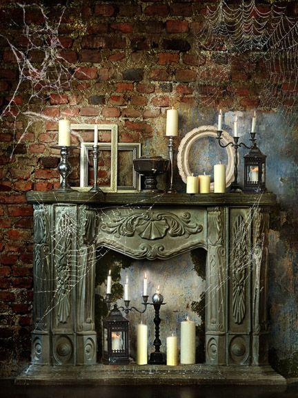 spooky room 60x80 halloween fireplace cobwebs spooky old vintage - Halloween Fireplace