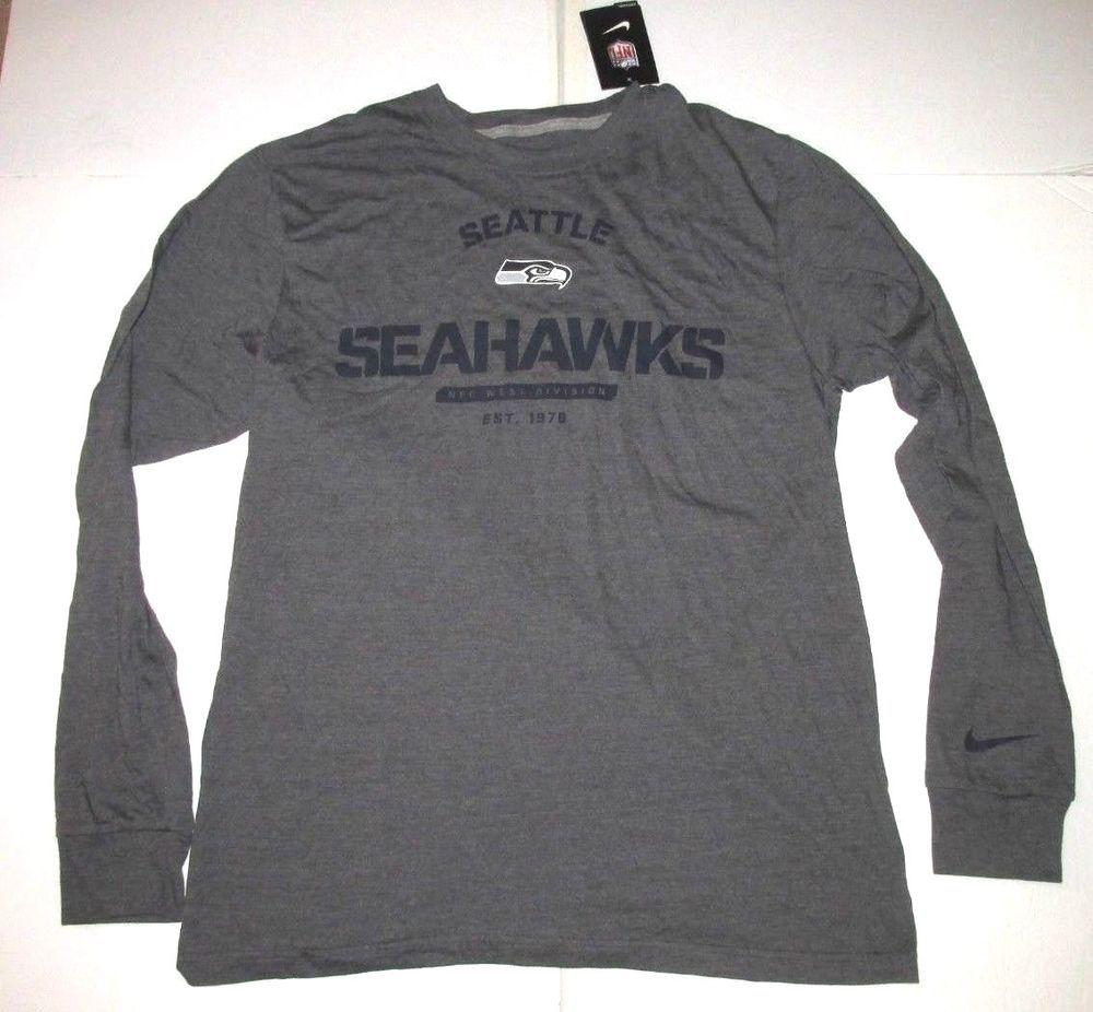 d42994629 Nike Seattle Seahawks LS Mens Shirt L Dark Grey  Nike  SeattleSeahawks