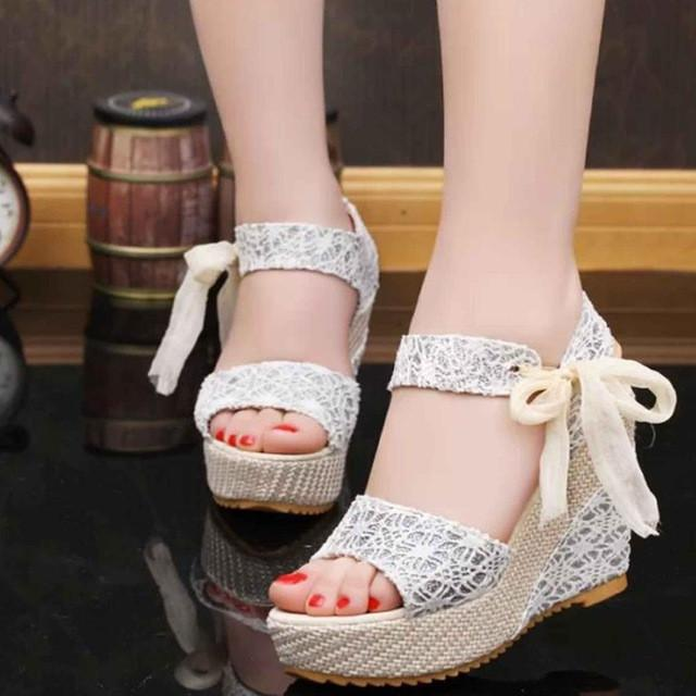 e96f12afc47d Shoes Women Summer Sweet Flowers Buckle Open Toe Wedge Sandals Floral  high-heeled Shoes Platform Sandals