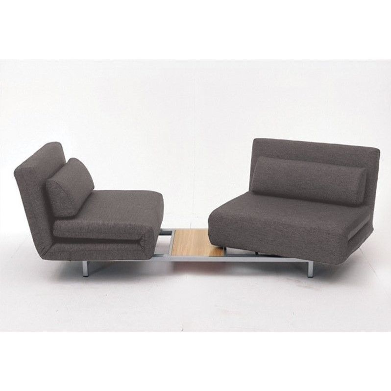 Mobital Iso Double Sofa Bed With 2 Single Swivel Chairs In Charcoal Tweed
