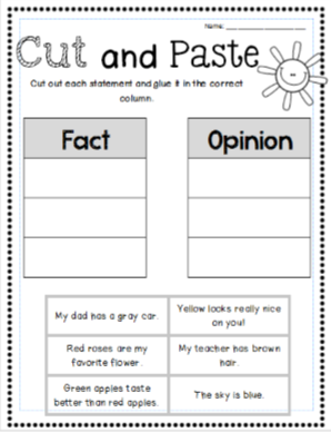 Fact and opinion worksheets, graphic organizers, bookmarks and ...