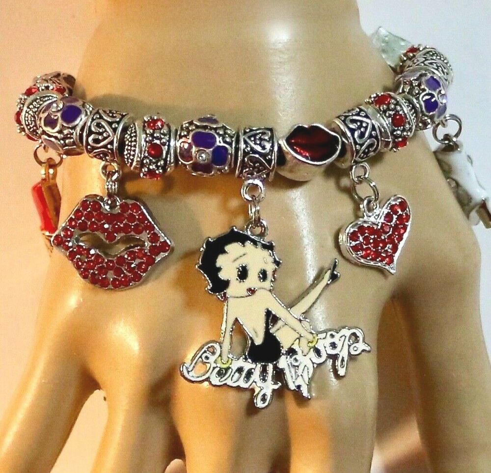 Betty Boop Pink Flowers European Style Charm Bracelet Gifts for Her Jewelry