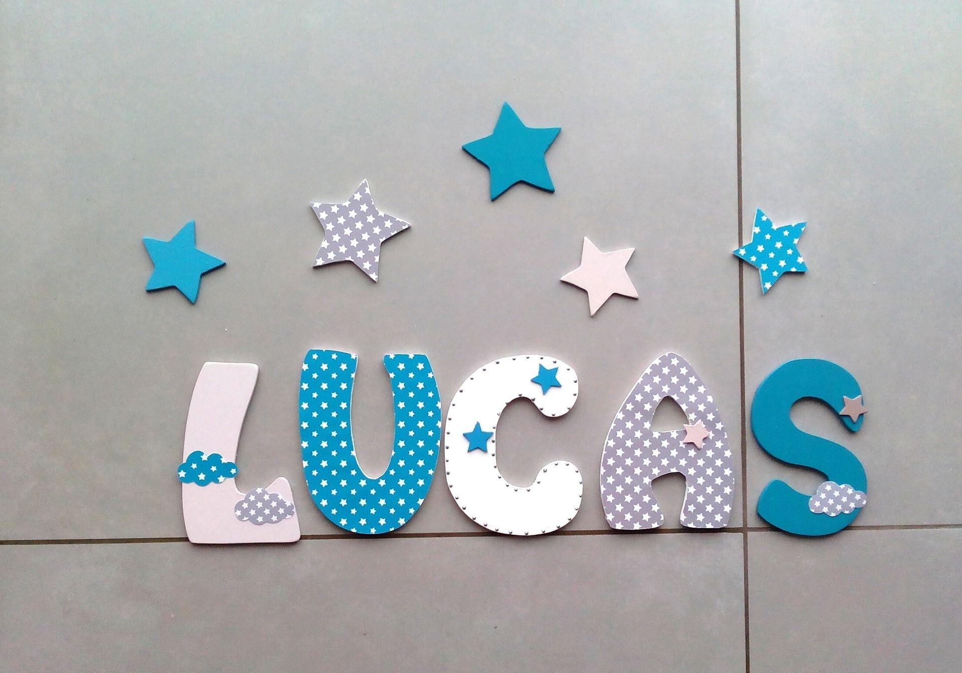 d coration pr nom lettres en bois lettres taille 14 cm d coration pour enfants par. Black Bedroom Furniture Sets. Home Design Ideas