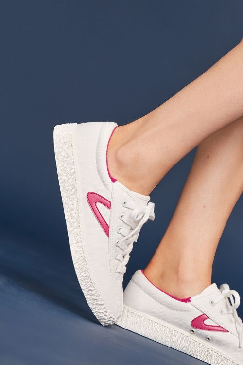 Tretorn Pink Check Sneakers   Womens