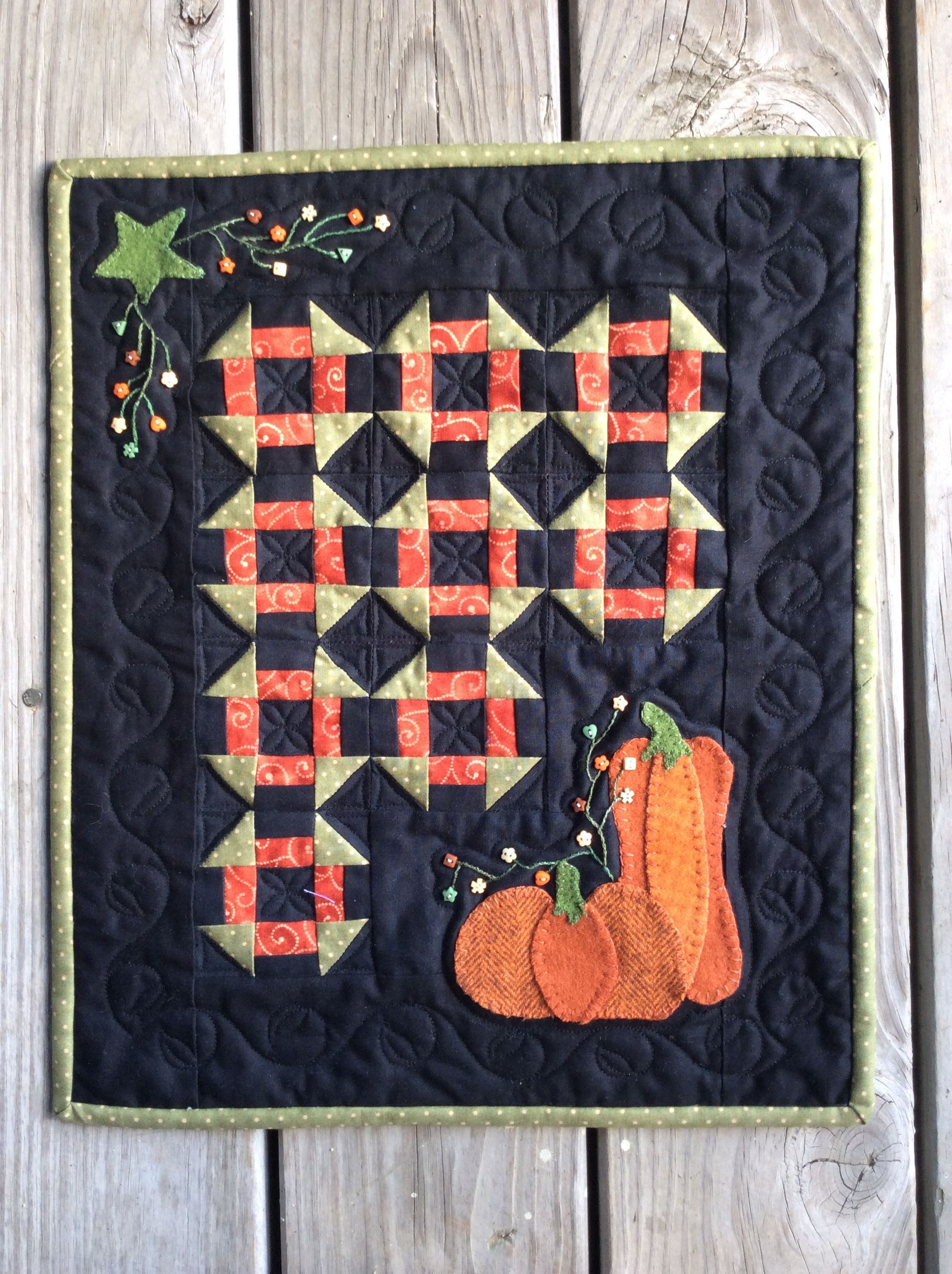 This is in my seasons in wool series this miniature quilt is