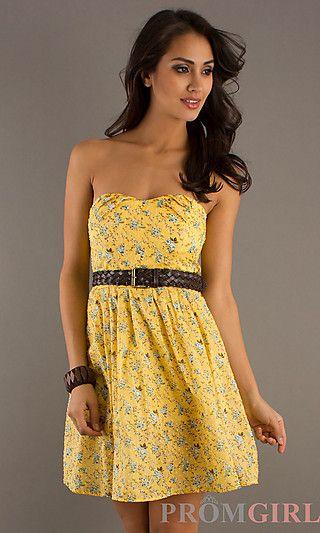 613ebc398bede Short Strapless Yellow Summer Dress at PromGirl.com | Kali's Wedding ...