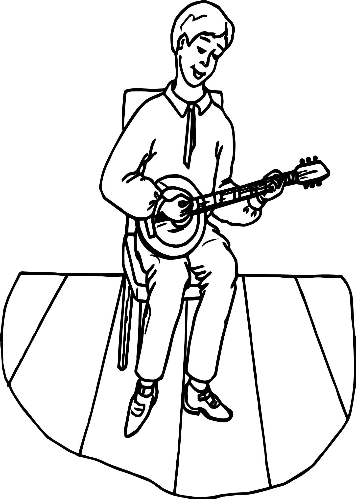 Nice Staying Boy And Playing The Guitar Coloring Page