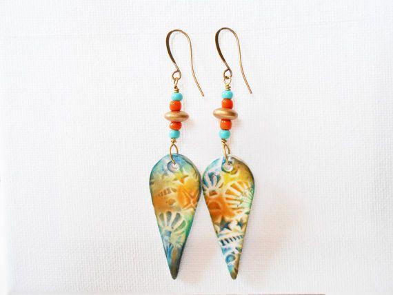 orange & blue drop earrings handmade earrings by jcudesigns