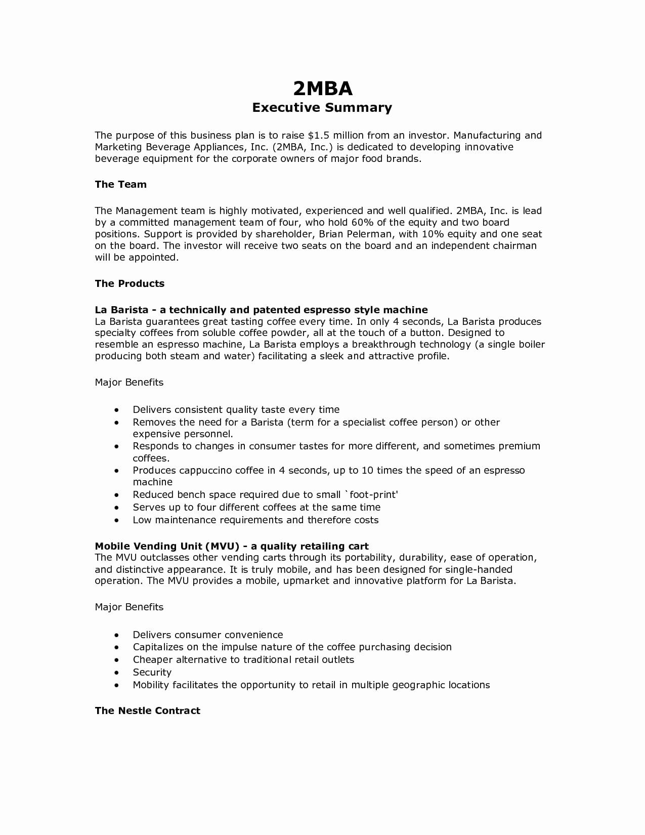 Business Summary Example Lovely 9 Executive Summary