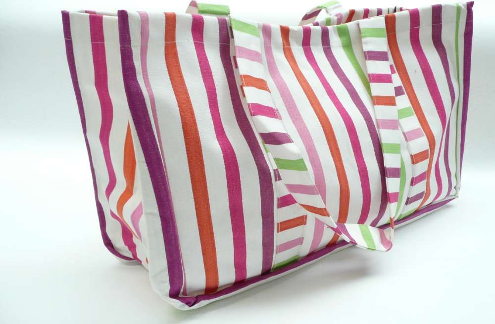 Extra Large Beach Bag White Pink Purple Stripes