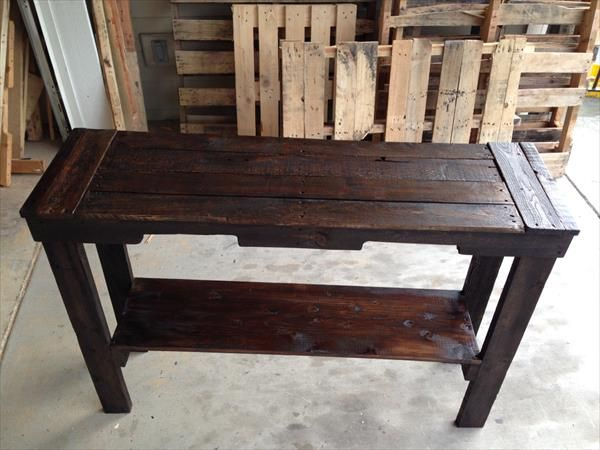 Wood Entry Table pallet sofa table - pallet entry desk | pallet furniture diy