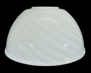 White Swirled Cased Glass Neckless Gas Light Shade
