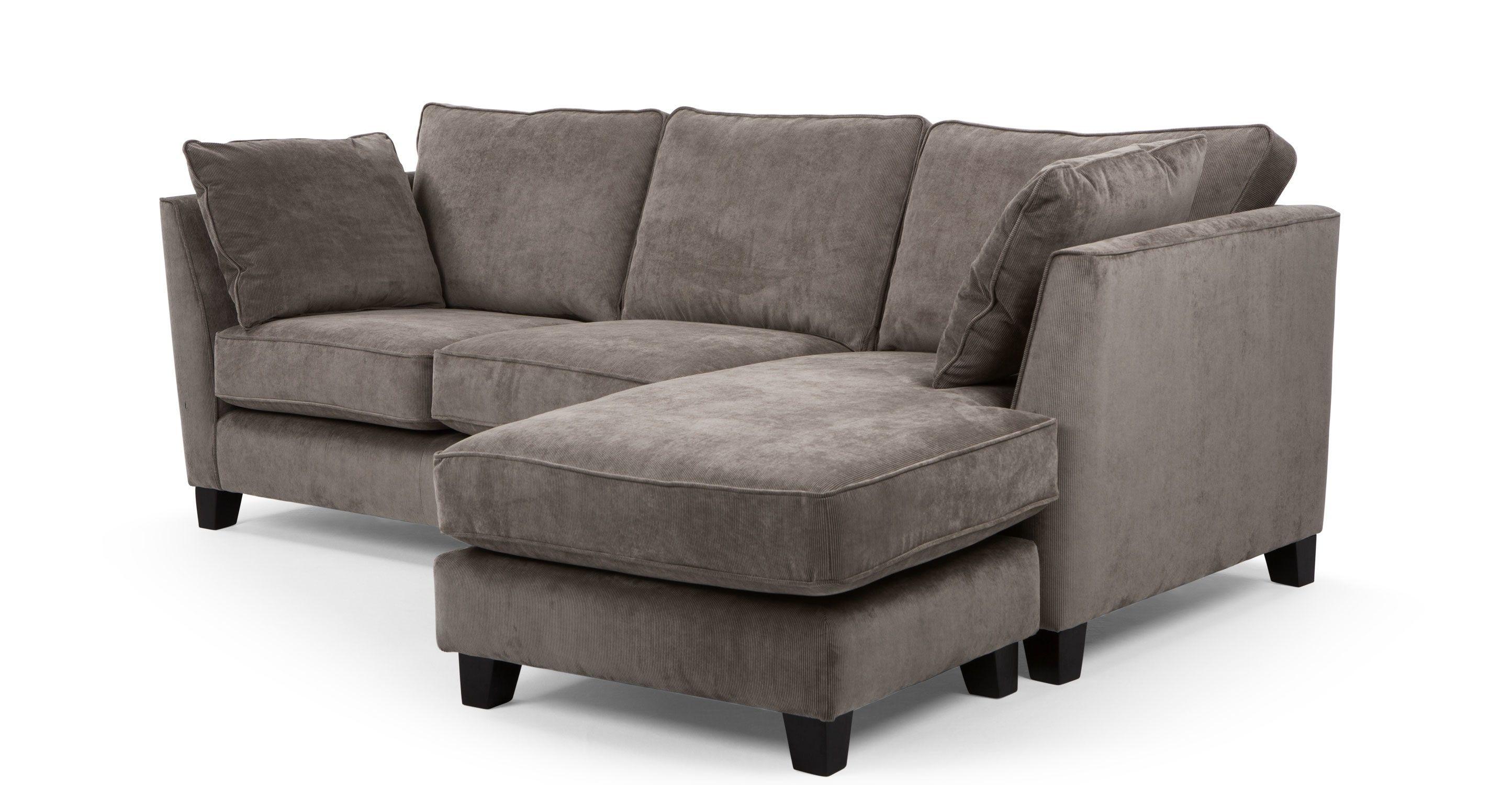Wolseley Large Corner Sofa, Mid Grey Corduroy | Corner Sofa ...