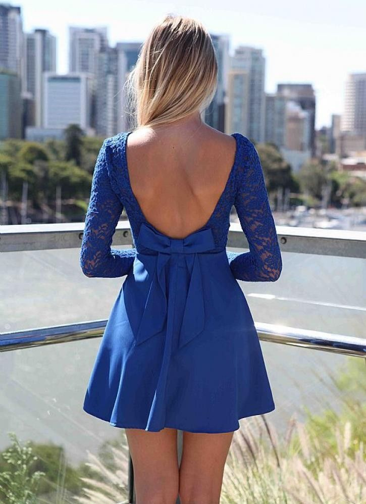 Blue Long Sleeve Skater Dress with Scoop Bow Back | Sleeve, Back ...