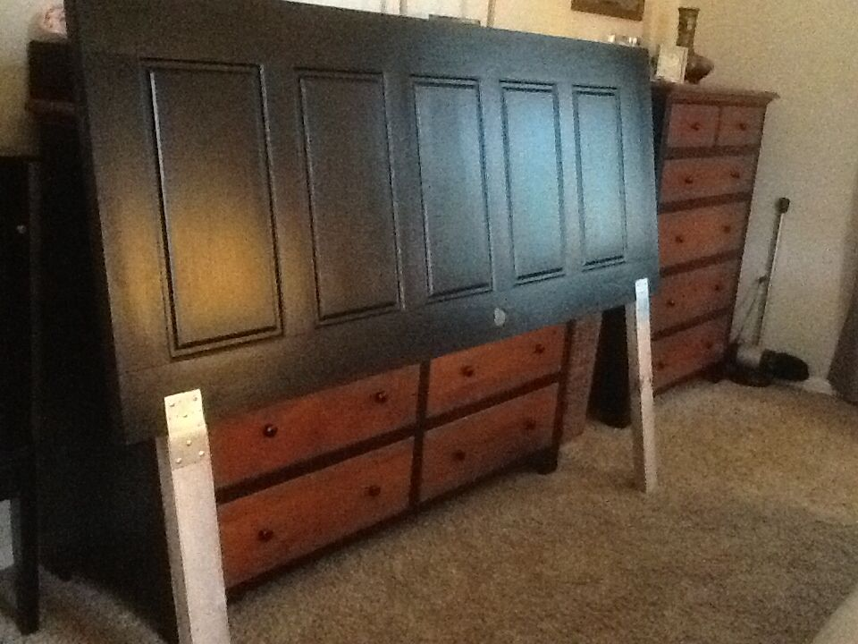 5 panel door from lowes clearance into king headboard - King size headboard ideas ...