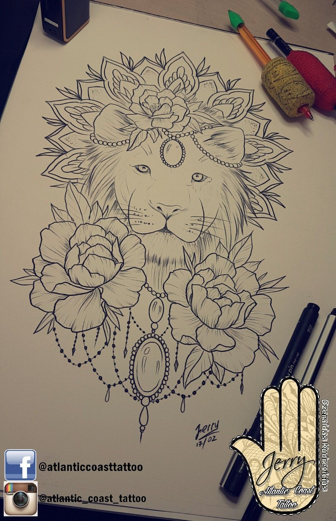 Beautiful Hand Thigh Lion Peonys Tattoo Ideas By Dzeraldas Jerry Kudrevicius From Atlantic Coast Tattoo Mandala Lotus R Lion Mandala Symbolic Tattoos Tattoos