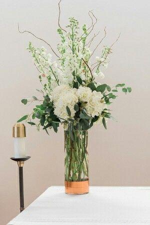 Altar Arrangement With Hydrangeas White Larkspur White Hybrid Delphin White Flower Centerpieces Hydrangea Centerpiece Wedding Flower Centerpieces Wedding