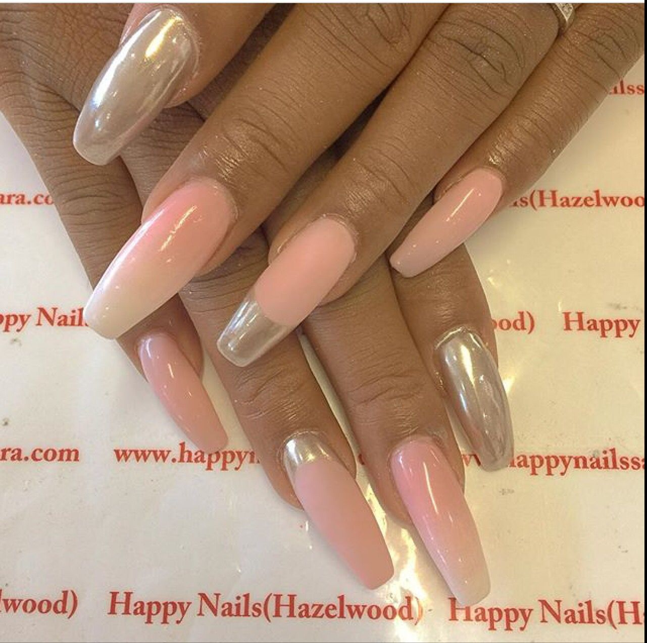 Chrome Silver Pink White Matte Long Nails Design Cute Fun