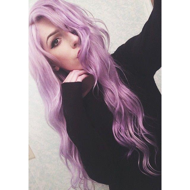 Pink-purple dyed hair.