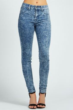 Laila Dark Acid Wash Skinny Denim Jeans at boohoo.com