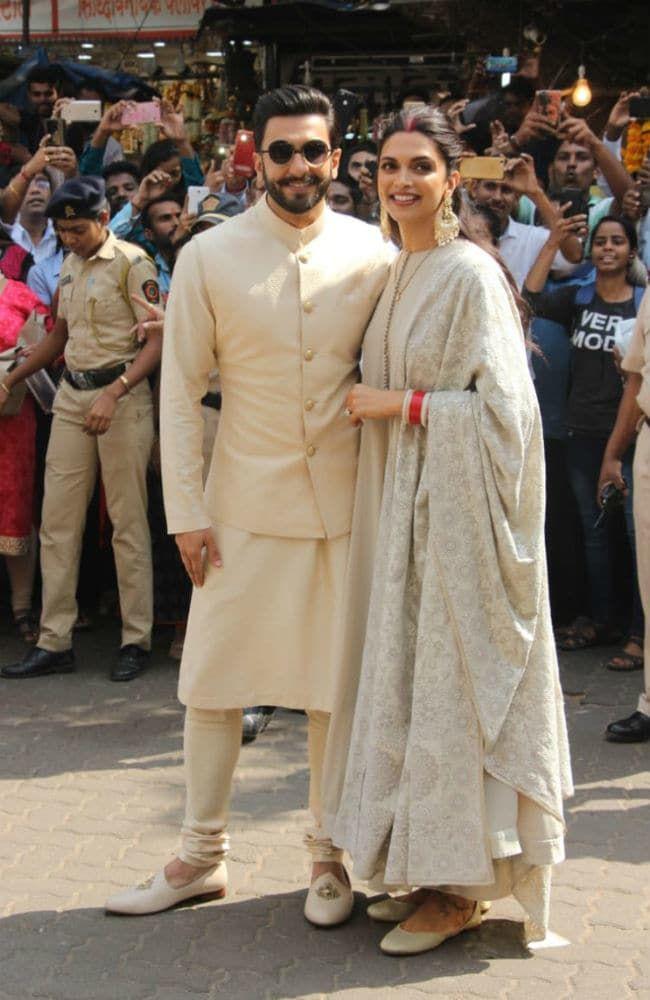 Deepika Padukone And Ranveer Singh Visit Siddhivinayak Temple After Mumbai Reception Indian Men Fashion Mens Indian Wear Indian Groom Wear