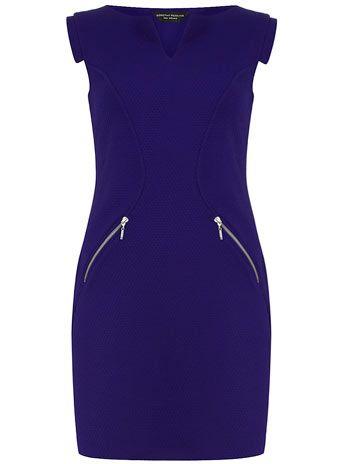 Blue textured shift dress