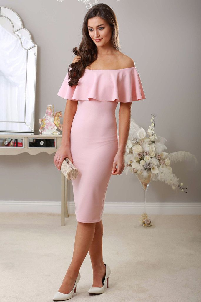 Baby Pink Midi Dress Off The Shoulder Ruffle Bodycon Occasion Wear Wedding