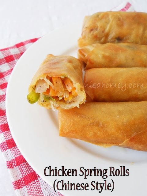 Photo of Chinese Spring Rolls With Chicken, plus tutorial on how to wrap ready made sprin…