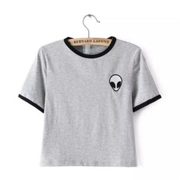 63c284816fe Women s Summer Fashion Kawaii Design Alien Print Short Sleeve Comfortable  Female Grey   Black Tee Crop Top T-Shirt