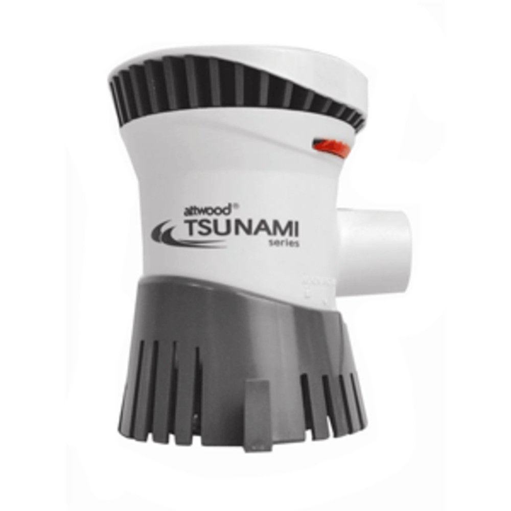 Attwood Tsunami Bilge Pump T1200 - 12V - 1100 GPH. Tsunami Bilge Pump T1200Part #: 4612-7With their innovative engineering and compact design, Tsunami pumps deliver high output from a small package. We use the advanced material available, including the best quality bearings and state-of-the-art brushes, alloys and magnets. Our patented shaft seal prevents leaks caused by misalignment and out caulked and tinned wiring eliminates wicking, prevents water damage and resists corrosion.Boaters...