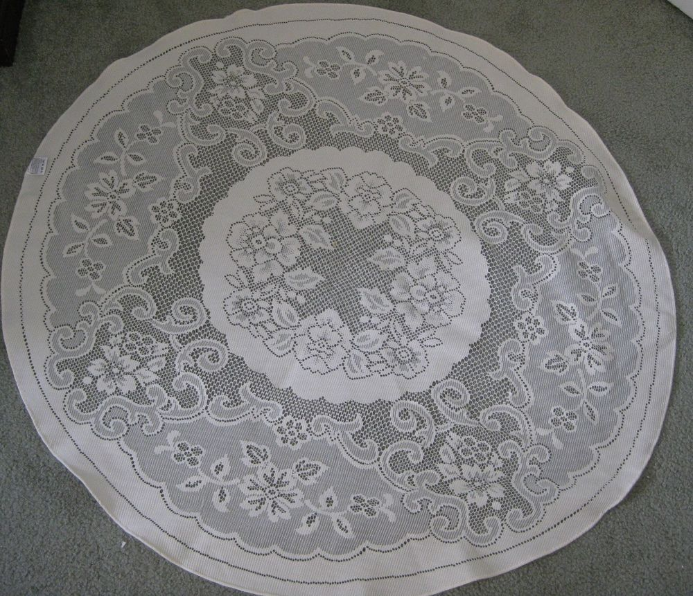 """36"""" ROUND IVORY OFF WHITE FLORAL LACE TOPPER TEA"""