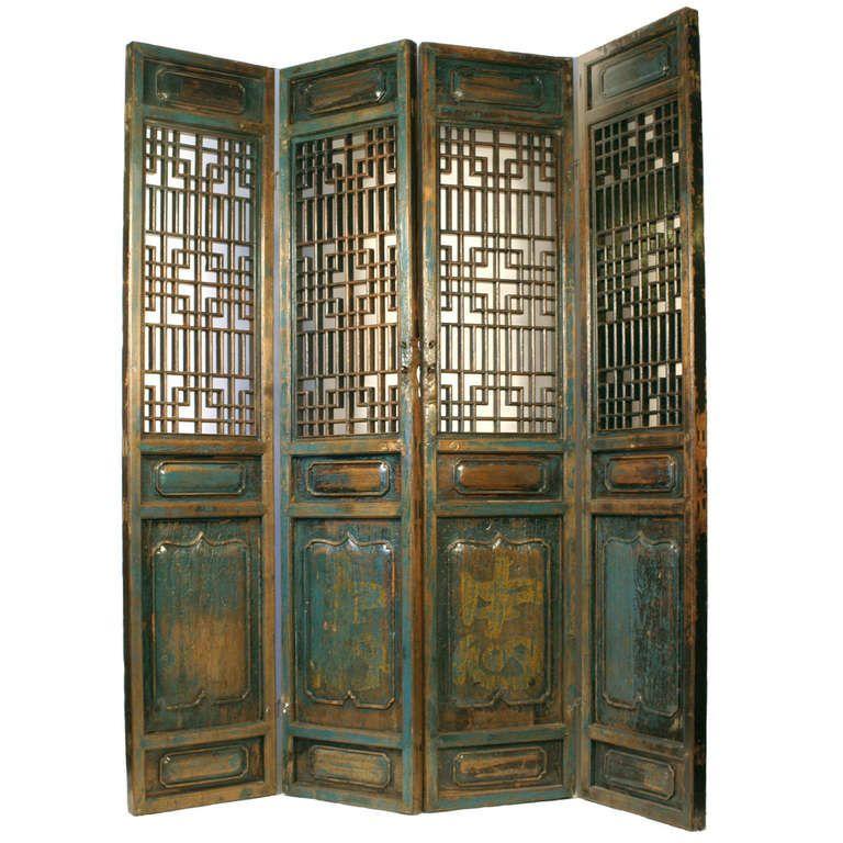 Antique Chinese Hand Carved Wooden Shanxi 4 Panel Doors 1stdibs Com Asian Home Decor 4 Panel Doors Panel Doors
