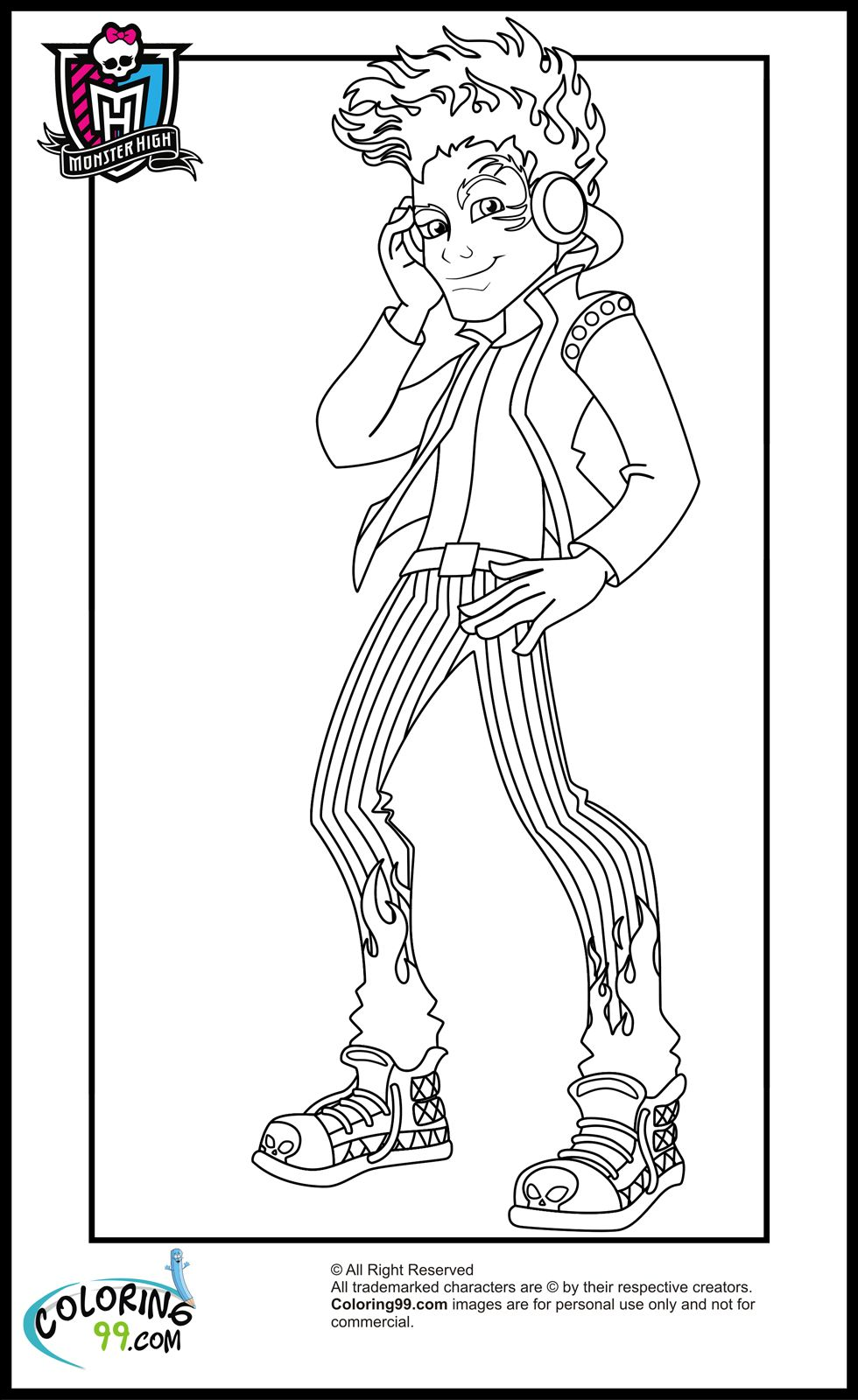 Monster High Boys Coloring Pages Team Colors Monster High