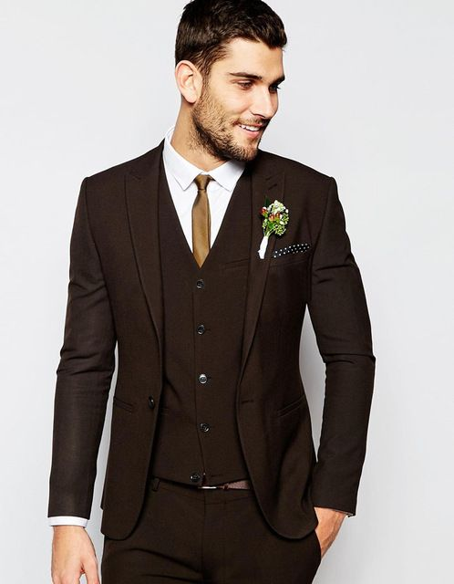 2017 Handsome Brown Mens Wedding Groom Tuxedos Custom Made | Suits ...