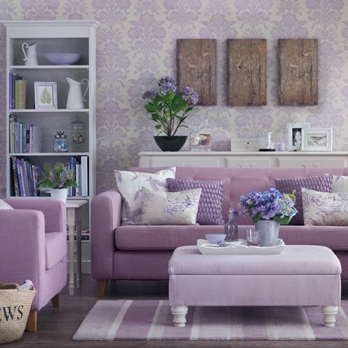 Lavender Living Room With Damask Wallpaper And A Range Of Mauve Decor
