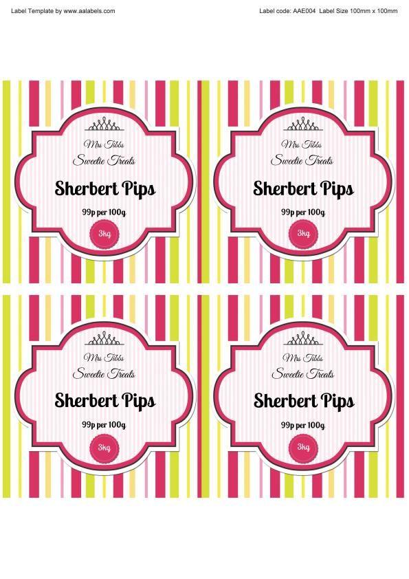 sherbet pips sweet jar label template image jar labels pinterest
