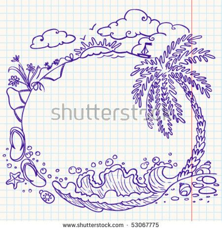 Rounded summer doodle frame