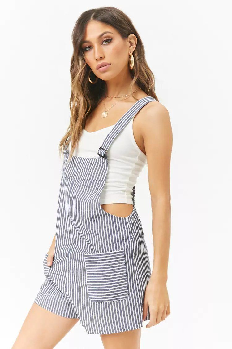 7538881220 Product Name:Striped Overall Romper, Category:dress, Price:19.9 ...