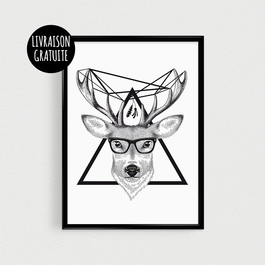 poster t te de cerf hipster affiche scandinave triangles noir et blanc plumes. Black Bedroom Furniture Sets. Home Design Ideas