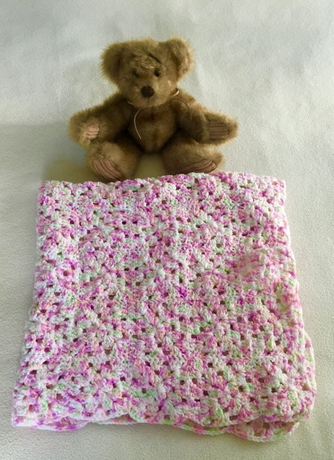 Hand-crocheted 4-color speckled granny squares baby blanket 27\