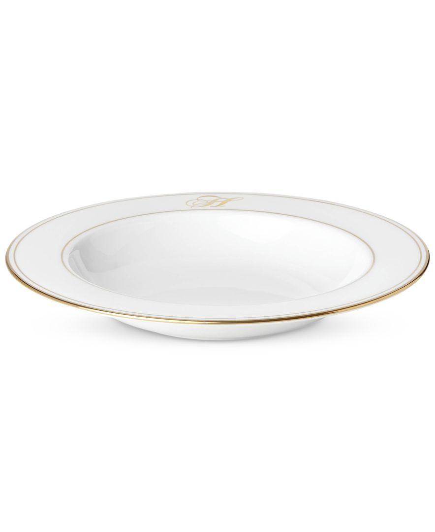 Lenox Federal Gold Monogram Script Pasta/Rim Soup Bowl