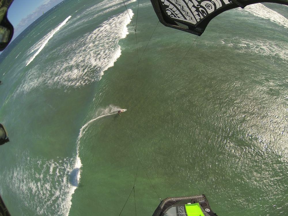 Anke Kitesurfing at Kanaha Beach Park on Maui, Hawaii
