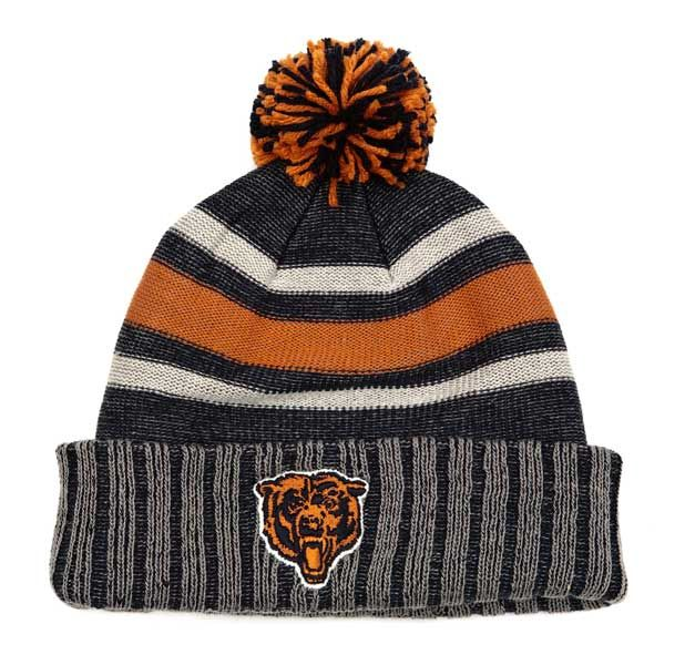 Chicago Bears Multicolored Bear Face Winter Hat With Ball Top ... 36dd9dbb77b