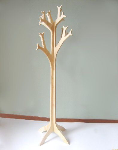 Sapling Coat Stand - Large Size by Objectify. $175.00. Made from sustainably produced New Zealand Radiata Pine plywood and finished with a light coat of polyurethane. The stand comes flat packed and 2 pieces simply slot together with inobtrusive fittings to hold together securely.   Dimensions: 58 inches (120cm) high by 20 inches (40cm) wide when assembled.