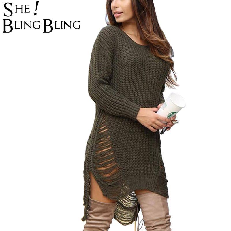Long Sleeve Sexy Tassel Side Open Knitted Sweater Women Pull Femme Knitwear  Fashion 2016 Winter Women Sweaters and Pullovers 899597626