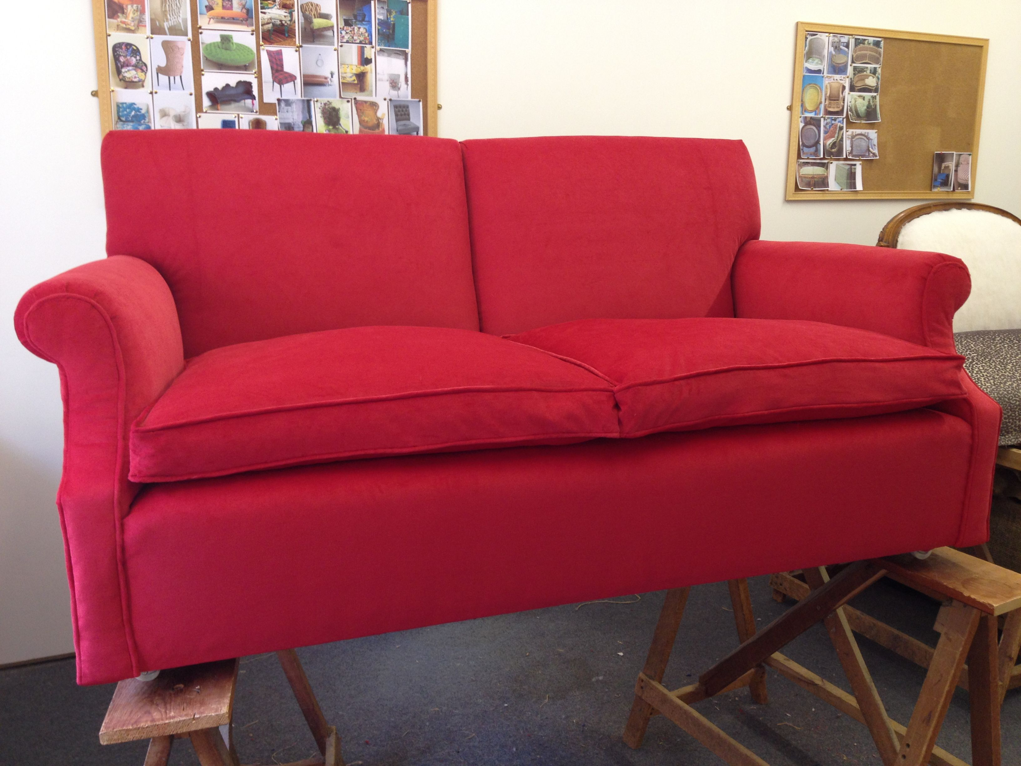 An old sofa transformed by red corduroy. | sofa | Old sofa, Sofa ...