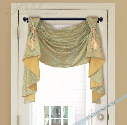 Victory Swag Valance With Long Jabots Valances Window Treatments Custom Curtains Curtain