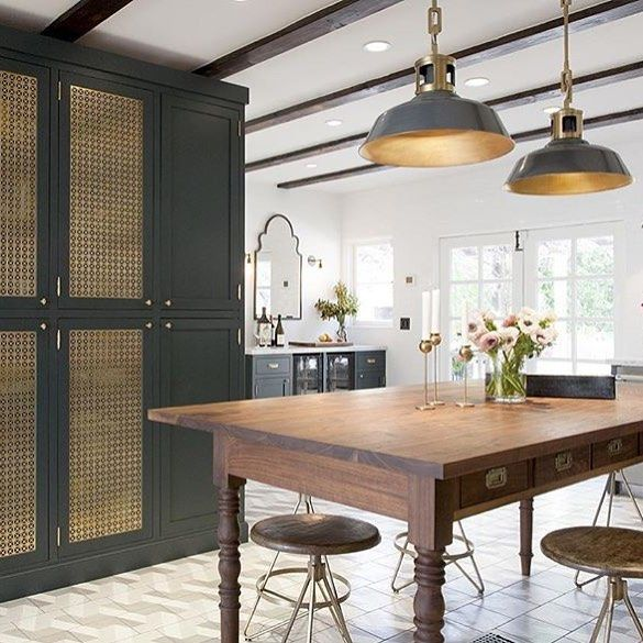 black cabinets gold accents gorgeous kitchen design mattersofspace farmhouse kitchen on kitchen decor navy id=25528