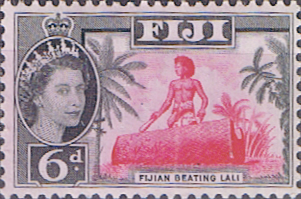 Fiji 1959 Fijian Beating Lali Fine Mint SG 303 Scott 168 Other Fiji Stamps HERE